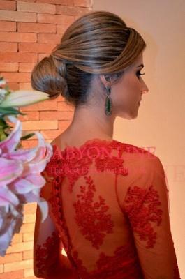Elegant Long Red Lace Prom Dress UK Sleeves Luxury_2