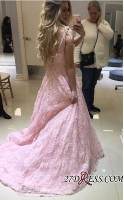 Pink Lace Prom Dress UK   Evening Gowns On Sale_2