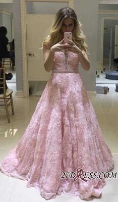 Pink Lace Prom Dress UK   Evening Gowns On Sale_1
