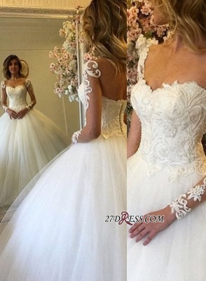 Lace-up Ball-Gown Glamorous Long-Sleeves Lace Wedding Dress_2