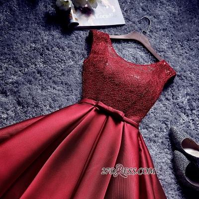Bowknot-Sash Red Lace-Up-Back A-line Homecoming Dress UKes UK BA7429_5