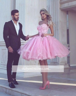 Short Appliues Pink Sweetheart-Neck Ball-Gown Homecoming Dress UKes UK_1