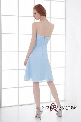 Chiffon Short Zipper-Back Luxury Sky-Blue Sweetheart Bridesmaid Dress UK_4