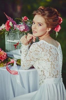 Fairy long Sleeve Lace Wedding Dress Zipper Button Back_2