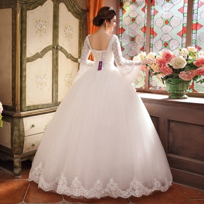 Elegant Long Sleeve Sequins Lace Wedding Dresses UK Ball Gown Tulle_5