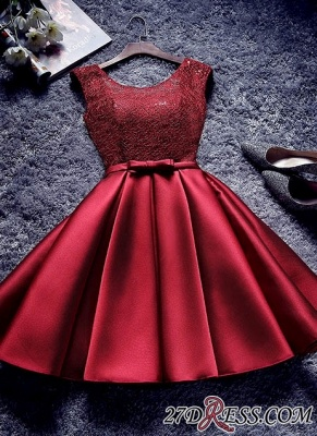 Bowknot-Sash Red Lace-Up-Back A-line Homecoming Dress UKes UK BA7429_6