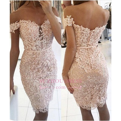 Buttons Lace Off-the-Shoulder Elegant Short Tight Homecoming Dress UK BA6358_1