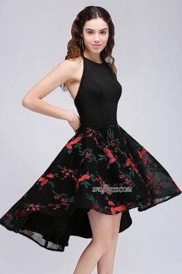 Backless Modern Flowers Sleeveless A-line Halter Homecoming Dress UK_1
