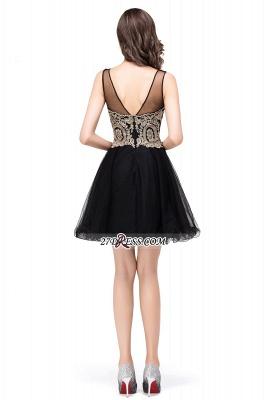 Sleeveless Appliques Elegant Black Tulle Homecoming Dress UK_10