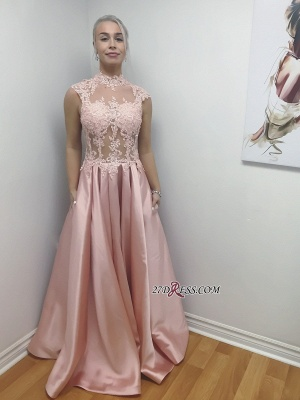 Long Illusion Chic Lace-Applique Bodice High-Neck A-Line Prom Dress UKes UK_1