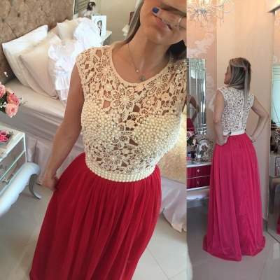 Luxury Red Pearls Lace Prom Dress UKes UK Long Chiffon BT0_3