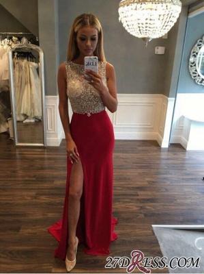 Luxury Sleeveless Sweep-Train Front-Split Crystals Jewel Prom Dress UK_4