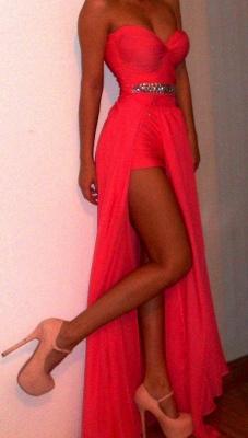 Luxury Red Long Prom Gowns Sweethear Slit Chiffon Evening Dress UKes UK With Beadings_2