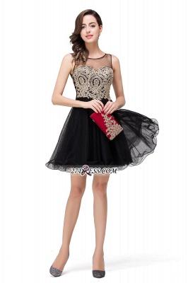 Sleeveless Appliques Elegant Black Tulle Homecoming Dress UK_8