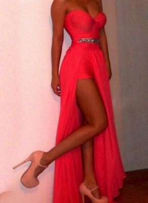 Luxury Red Long Prom Gowns Sweethear Slit Chiffon Evening Dress UKes UK With Beadings_1
