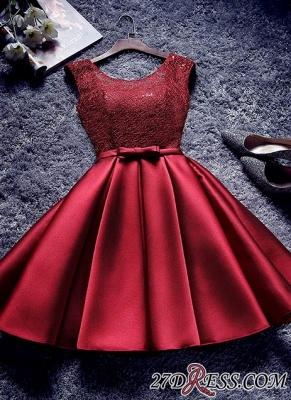 Bowknot-Sash Red Lace-Up-Back A-line Homecoming Dress UKes UK BA7429_2