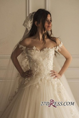 Appliques Tulle Pretty Off-the-shoulder Lace Wedding Dress_2
