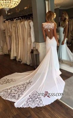 Sleeveless Chapel-Train Appliques Newest Sexy Mermaid Wedding Dress_2