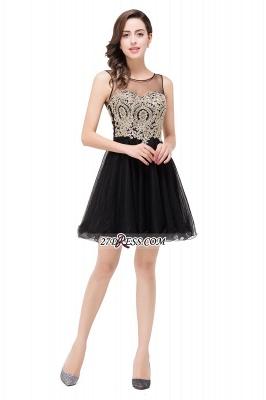 Sleeveless Appliques Elegant Black Tulle Homecoming Dress UK_9