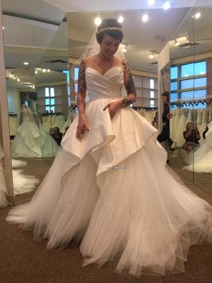 Sweetheart Tulle Wedding Dress Long With Ruffles_4