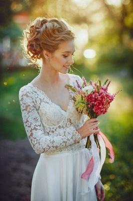 Fairy long Sleeve Lace Wedding Dress Zipper Button Back_1