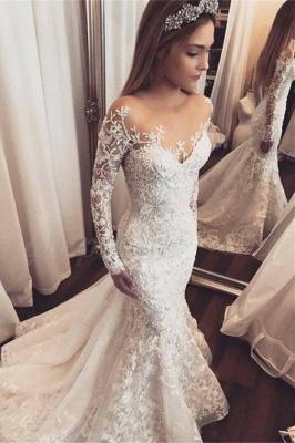 Elegant Long Sleeve Wedding Dress   Lace Appliques Wedding Dress On Sale_1