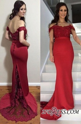 Newest Zipper Mermaid Off-the-shoulder Lace Maternity Sweep-Train Prom Dress UK_1
