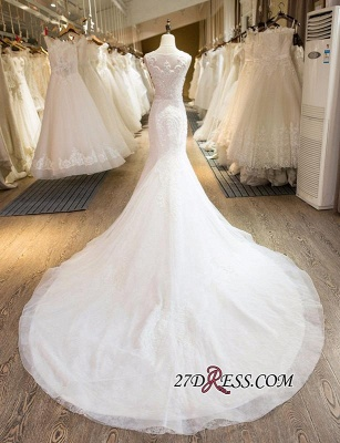 Sleeveless Newest Tulle Beadss Appliques Sexy Mermaid Wedding Dress_5