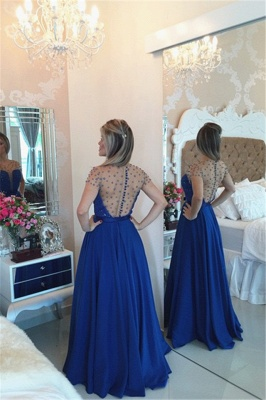 Sexy A-line Illusion Cap Sleeve Evening Dress UK Beadings Appliques Foor-length Chiffon Prom Gown_3
