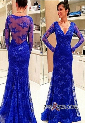 Lace Sexy Long-Sleeve Rpyal-Blue Evening Dress UK_2