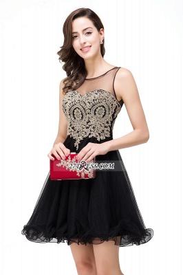 Sleeveless Appliques Elegant Black Tulle Homecoming Dress UK_11