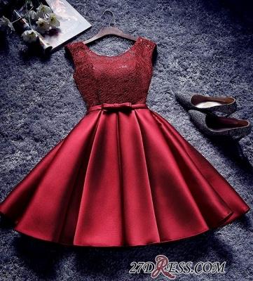 Bowknot-Sash Red Lace-Up-Back A-line Homecoming Dress UKes UK BA7429_3