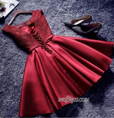 Bowknot-Sash Red Lace-Up-Back A-line Homecoming Dress UKes UK BA7429_4