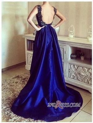 Elegant Blue Hi-Lo Open-Back Appliques Straps Prom Dress UKes UK_2