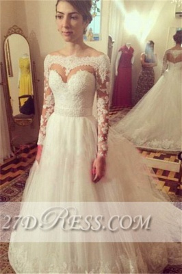 Bateau Long Sleeve Elegant Bridal Gowns Tulle Fashion Applique Wedding Dresses UK_1