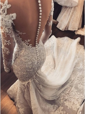 Elegant Long Sleeve Wedding Dress   Lace Appliques Wedding Dress On Sale_3