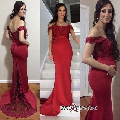 Newest Zipper Mermaid Off-the-shoulder Lace Maternity Sweep-Train Prom Dress UK_2