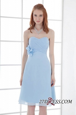 Chiffon Short Zipper-Back Luxury Sky-Blue Sweetheart Bridesmaid Dress UK_2