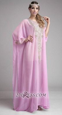 Sexy Long Sleeve Chiffon Arab Evening Dress UK With Beadings Crystals Floor-length_1