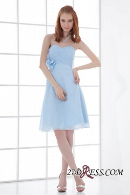 Chiffon Short Zipper-Back Luxury Sky-Blue Sweetheart Bridesmaid Dress UK_6