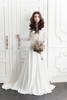 Fairy long Sleeve Lace Wedding Dress Zipper Button Back_3