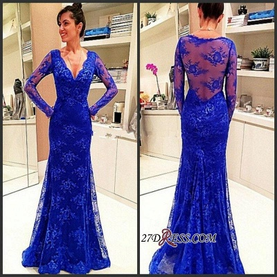 Lace Sexy Long-Sleeve Rpyal-Blue Evening Dress UK_1