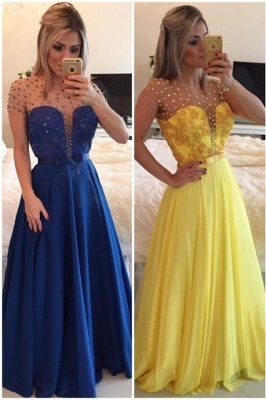 Sexy A-line Illusion Cap Sleeve Evening Dress UK Beadings Appliques Foor-length Chiffon Prom Gown_1