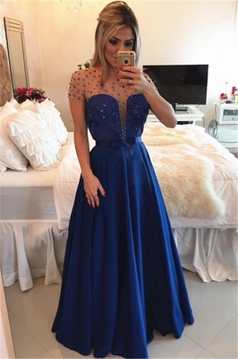 Sexy A-line Illusion Cap Sleeve Evening Dress UK Beadings Appliques Foor-length Chiffon Prom Gown_2