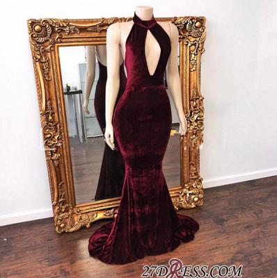 Zipper Backless Mermaid High-Neck Stunning Long Evening Dress UK_1