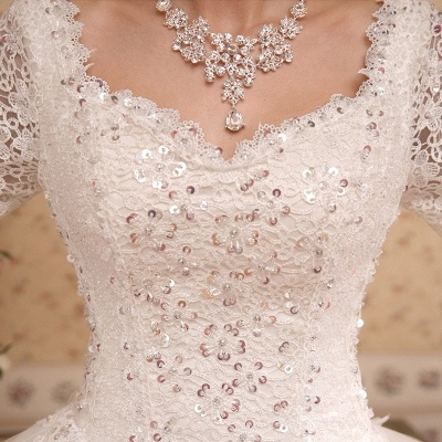 Elegant Long Sleeve Sequins Lace Wedding Dresses UK Ball Gown Tulle_3