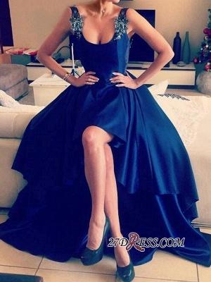 Elegant Blue Hi-Lo Open-Back Appliques Straps Prom Dress UKes UK_1