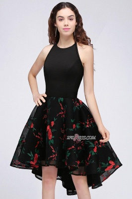 Backless Modern Flowers Sleeveless A-line Halter Homecoming Dress UK_4
