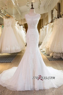 Sleeveless Newest Tulle Beadss Appliques Sexy Mermaid Wedding Dress_6