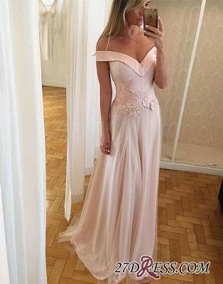 Off-the-shoulder Long Lace Light-pink Unique Formal Dress UK BA9173_1